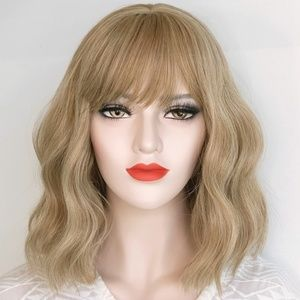 Ashy Blonde Wavy Wig with Bangs | Alicia